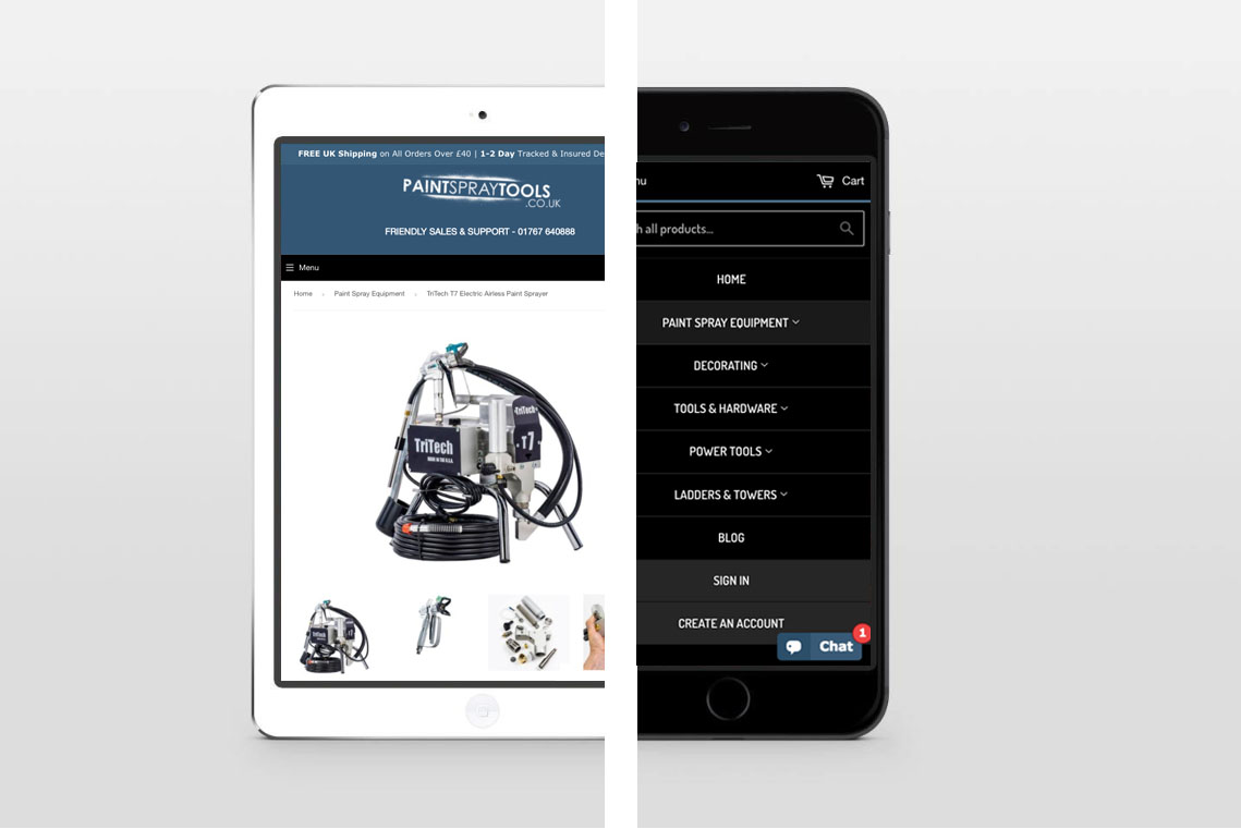 PaintSprayTools Mobile Responsive Example